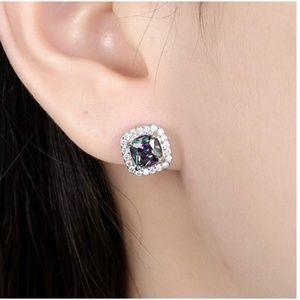 Multicolor Diamond Black Cubic Zirconia Earrings